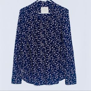 Sonoma blue & pink bird print button down top